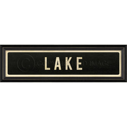 STREET SIGN BLACK - LAKE - RIGHT ARROW