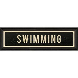 STREET SIGN BLACK - SWIMMING - RIGHT ARROW