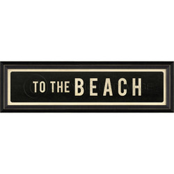 STREET SIGN BLACK - TO THE BEACH - RIGHT ARROW