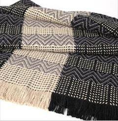 BAMBOO CHEVRON TWILL HANDWOVEN THROW - BLACK/CASHEW/GRANITE
