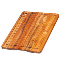 TEAKHAUS CUTTING BOARD CORNER HOLE JUICE GROOVE 18x14x.75