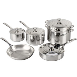 LE CREUSET TRI-PLY STAINLESS COOKWARE 10 PIECE SET