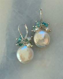 Coin pearl earrings are handmade with blue gems and pearls.