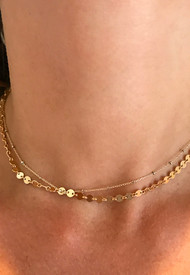 Double chain choker in gold