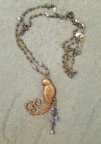 Handmade Vintage Necklace with Bird Pendant
