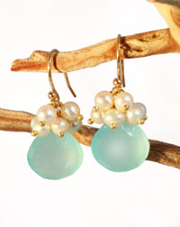 Aqua Chalcedony &amp; Pearl Earrings handmade by Pam Older Designs