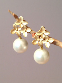 Pearl Earrings on a Matte Gold Post