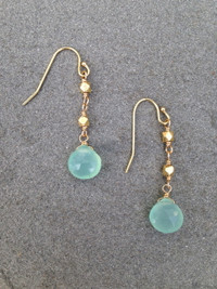 Aqua Chalcedony and Vermeil Earrings