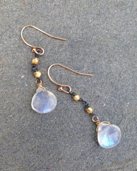 Mixed Metal makes moonstone earrings look very sophisticated.