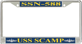 USS Scamp SSN-588 License Plate Frame