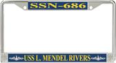 USS L. Mendel Rivers SSN-686 License Plate Frame