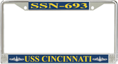 USS Cincinnati SSN-693 License Plate Frame