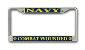 Combat Wounded' U.S. Navy Purple Heart License Plate Frame