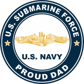US Submarine Force Proud Dad Gold Dolphins Decal
