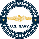 US Submarine Force Proud Grandson Gold Dolphins Decal
