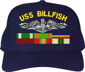 Custom Embroidered U.S. Navy Submarine Cap with Service Ribbons