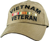 Vietnam Veteran Khaki Cap with Ribbons