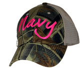 US Navy Pink Text Camo Ball Cap