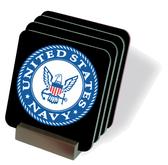 Navy Round Emblem Drink Coasters
