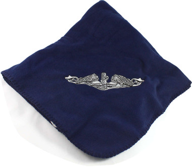 United States Navy Submarine Service Enlisted Dolphins Embroidered onto Navy Blue Fleece Blanket