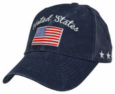 United States American Flag Navy Blue Ball Cap