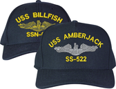 High and Low Profile Navy Blue Made in the USA Wool Blend Customized Embroidered Submarine Ship Cap