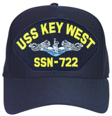 USS Key West SSN-722 Blue Water ( Silver Dolphins ) Custom Embroidered Submarine Enlisted Cap