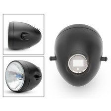 "5 3/4"" Vintage Style Black Metal Motorcycle Motorbike Headlight with Integrated Digital GPS Speedometer"