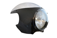 "BLACK Cafe Racer Fairing Cowl with Clear Windshield and 6 3/4"" Black Headlight"