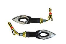 Black LED Open Eye Style Motorbike Motorcycle Scooter Slim Indicators / Turn Signals