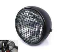 "7.7"" Matt Black Mesh Grill H4 55w Metal Project Motorcycle Motorbike Headlight"