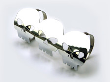 Chrome Skull Exhaust Heat Shield for Retro Cruiser Custom Project Motorbike