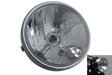 "CHROME Steel 6.5"" 6 1/2"" 12V 35W E-marked Project Retro Motorbike Trike Headlight"