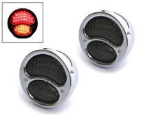 Pair of Chrome Vintage Style Car Integrated LED Stop Tail Lights with Indicators