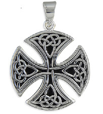 Large Round Celtic Cross - 925 Sterling Silver