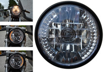 "7"" 12V 35W Motorbike Custom Headlight with Built In LED Indicators Turn Signals"