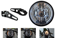 7 inch 12V 35W Motorbike Custom Headlight with Built In LED Indicators & Fork Brackets