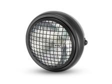 "6"" Black Mesh Grill H4 Retro Headlight for Project Cafe Racer Scrambler Motorbike"