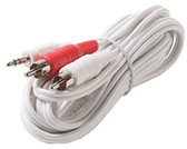 12 3.5mm Stereo Plug to 2-RCA Plug Y Audio Patch Cord, White