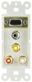 Decora Wall Plate Insert with 1 VGA, 3.5mm Stereo and 3 RCA Female Couplers, Red/White/Yellow (845-301-5000)