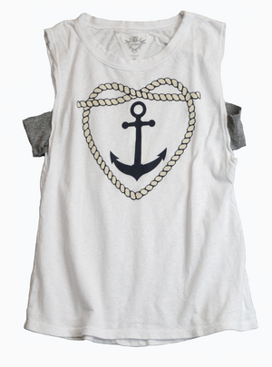 WHITE HEART ANCHOR SCREEN PRINT MUSCLE TEE WITH CONTRAST ARMHOLE