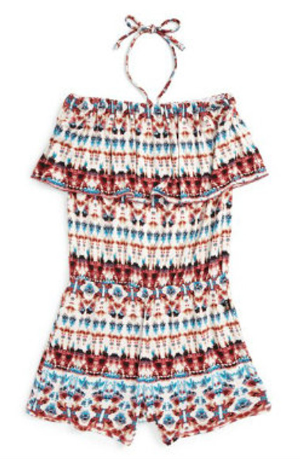 NATIVE PRINT JERSEY RAYON SPANDEX RUFFLE HALTER ROMPER
