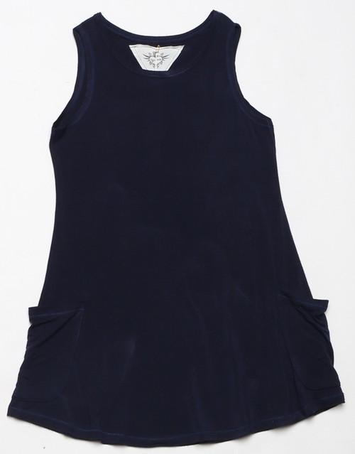 BLACK JERSEY RAYON SPANDEX SLEEVELESS DRESS WITH POCKETS