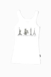 BLACK CITY ICON PRINT WHITE LAYER TANK TOP
