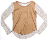 MICRO SUEDED LONG SLEEVE SWEATER WTH SUEDED CONTRAST