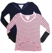 RAYON/POLY THERMAL STRIPED LONG SLEEVE HIGH FRONT V-NECK TOP