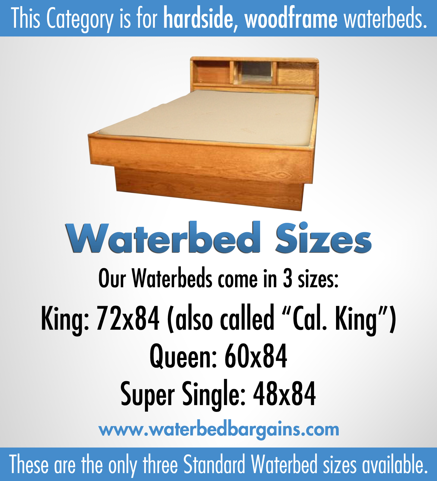 Hardside Waterbeds and the common only sizes.