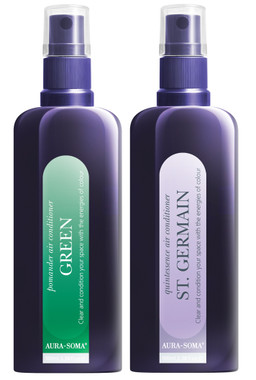 The Green and St Germain Air Conditioner sprays are great to use during the holidays, keep the space open and clear with the green and follow up with the peacefulness of the St Germain