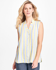 FLAX Picnic 2018 Gazebo Blouse shown in summer stripe
