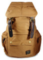 "Amik ""Del Ray"" Italian-Style Vintage Canvas & Leather Backpack - Khaki Tan"